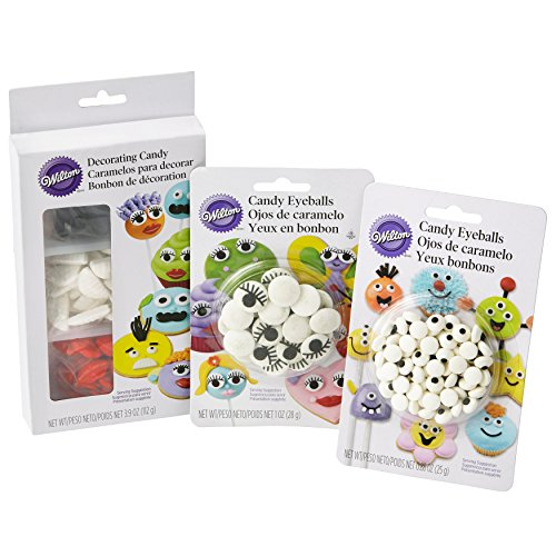 Wilton Sweet Personalities Edible Candy Decorations Eyeballs, Mustaches, Lips, and Teeth Decorating Kit, 4-Piece -