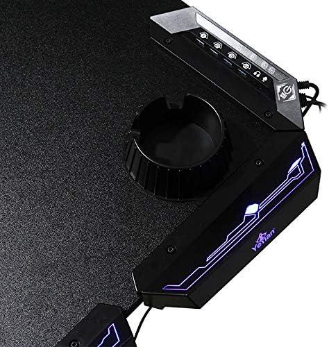 ergonomica 4 USB YEYIAN Mesa Gaming Shred Led RGB, YMS-69702 122x68x76 cm portavasos