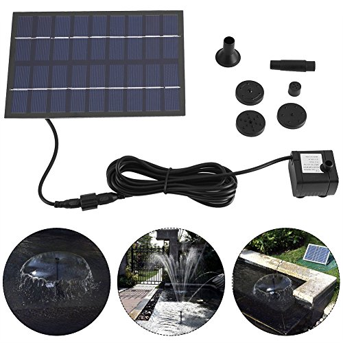 Solar Powered Pump 180L/h Solar Panel Powered Water Fountain Pump Fish Tank Pond Pool Home Garden Watering Kit ()