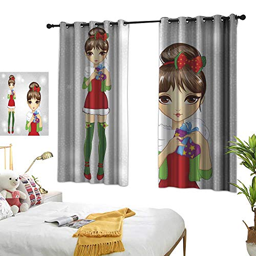 wwwhsl Perforated Curtain Fashion Girl Dressed As Santa