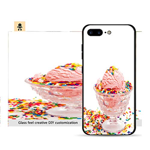 iPhone 7p / 8p Ultra-Thin Phone case Simple Pink Ice Cream in a Crystal Sherbert Dish Resistance to Falling, Non-Slip, Soft, Convenient Protective case (Sherbert Dish)