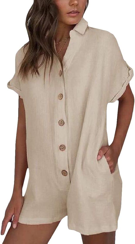 Macondoo Women Shorts Romper Playsuit Short Sleeve Summer Jumpsuit
