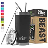 BEAST 20oz Tumbler Insulated Stainless Steel Coffee Cup with Lid, 2 Straws, Brush & Gift Box by Greens Steel (20 oz, Matte Black)