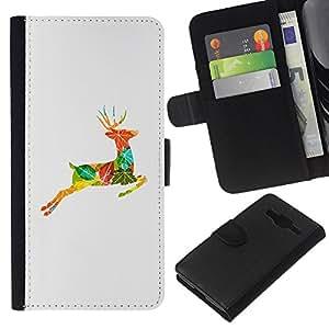 KLONGSHOP // Tirón de la caja Cartera de cuero con ranuras para tarjetas - Dibujo Otoño Collage Naturaleza - Samsung Galaxy Core Prime //
