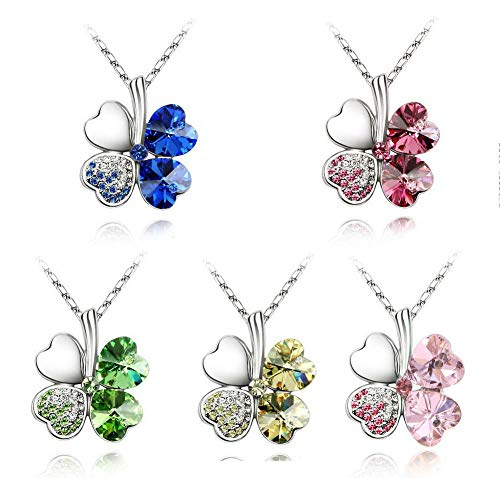 Apol 5 Color Four Leaf Clover Heart Shaped Elements Crystal Rhodium Plated Pendant Necklace for Ladies Women Teen for Gift