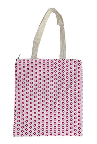 Tote Polka Print Dots - Nuni Women's Pink Polka Dot Pattern Cotton Canvas Tote Shoulderbag Shopping Bag (Zip closure)