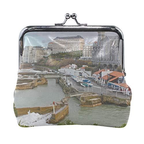 Rh Studio Coin Purse Biarritz France Buildings River Tide Print Wallet Exquisite Clasp Coin Purse Girls Women Clutch Handbag