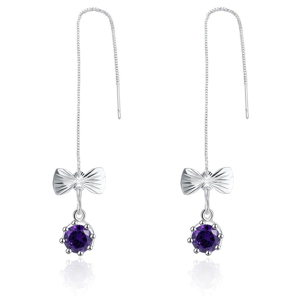 BLOOMCHARM Butterfly Bowknot 925 Sterling Silver Drop Long Earrings Jewelry,Gifts for Women Girls