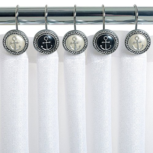 Chictie 12 Piece Vintage European Style Nautical Black&White Anchor Decorative Shower Curtain Hooks Round Stainless Steel Anti-Rust Rings for Bathroom Hangers by Chictie
