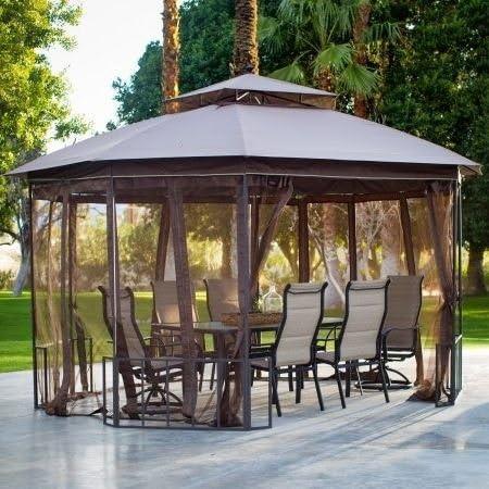 Toldo para carpa de jardín, octogón, 10 x 12 pies, con cortinas, color marrón: Amazon.es: Jardín
