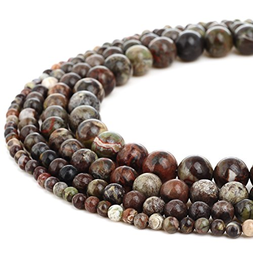 RUBYCA Wholesale Natural Ocean Jasper Gemstone Round Loose Beads for Jewelry Making 1 Strand - 8mm ()