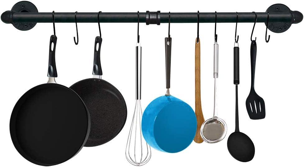 TLBTEK 31.5 Inch Black Pipe Pot Rack Wall Mounted, Pots and Pans Hanging Organizer, Pot Lid Utensil Holder, Coffee Mug Rack, Cup Hanger Bar for kitchen with 10 Detachable S Hooks: Kitchen & Dining
