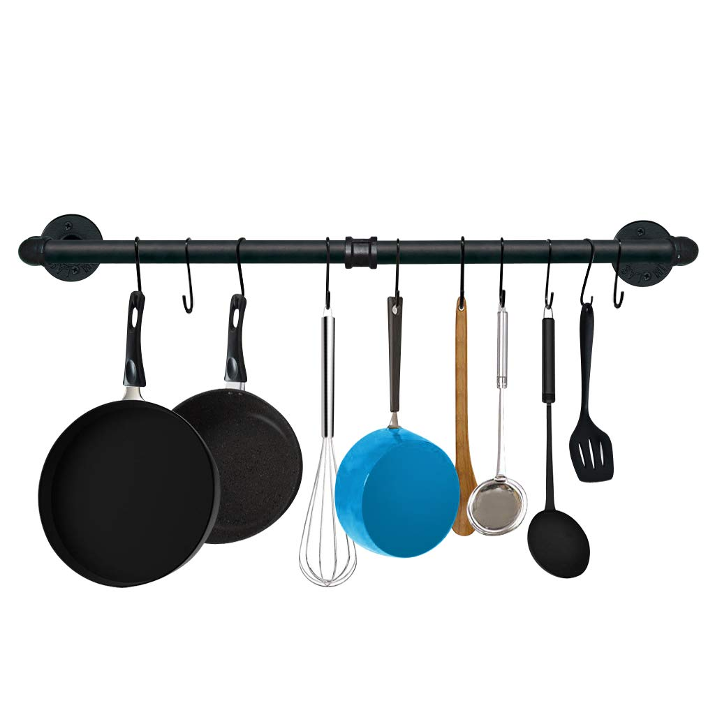 TLBTEK 31.5 Inch Black Pipe Pot Rack Wall Mounted,Pots and Pans Hanging Organizer,Pot Lid Utensil Holder,Coffee Mug Rack,Cup Hanger Bar for kitchen with 10 Detachable S Hooks by TLBTEK