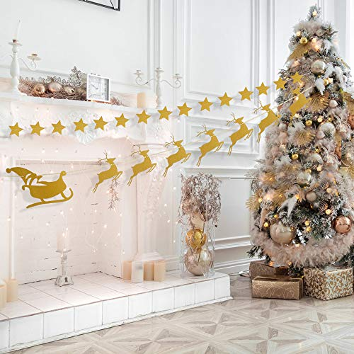 zeman Gold Star Garlands Deers Santa Claus sled Banner for Merry Christmas Party Home Winter Holiday New Years DecorationsDecoration