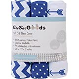 Crib Sheets Set for Boys & Girls | Super Soft 100% Jersey Knit Cotton | Navy and White | 150 GSM | 3 Pack …
