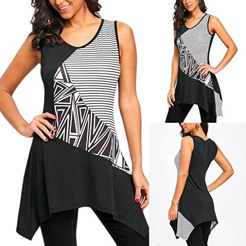 Geometric Print Sleeveless - Inverlee Fashion Womens Geometric Striped Print Sleeveless Long T-Shirt Tank Tops Blouse (Black, M)