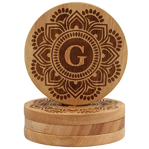 Coaster Engraved Personalized (26 letters To Choose From, 4 Coasters for Drinks, Wood Coasters Engraved Coasters, Personalized Coasters Cup Mat, Wooden Coaster Set, Wedding Coasters, Monogram G)