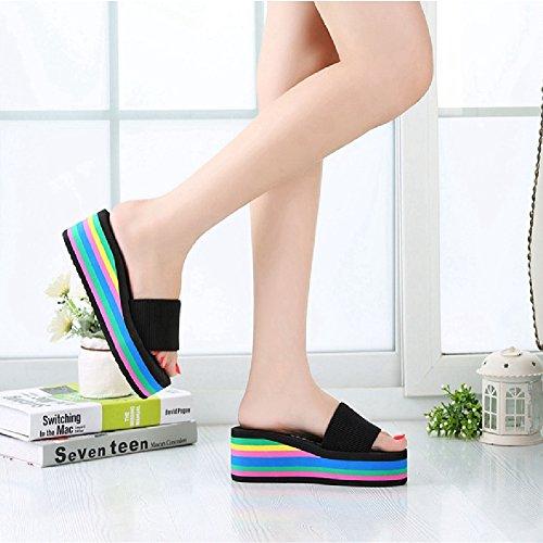 Btrada Mode Sandalen Voor Dames Zomer Antislip Platform Regenboog Sleehak Sandaal Schattige Schoenen Zwart