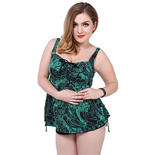 Alicemall Bikini una Piezas con Falda Talla Grande con Cintura Trajes de Natacion Mujer Verde