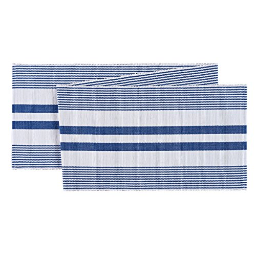 C&F Home 13x72 Ribbed Blue & White Table Runner -