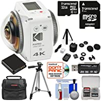 KODAK PIXPRO ORBIT360 VR 4K HD Wi-Fi Video Action Camera Camcorder - Adventure Pack with 32GB Card + Battery + Case + Tripod Kit