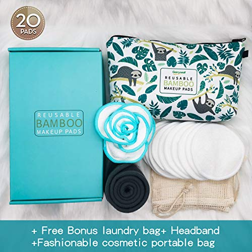 Reusable Makeup Remover Pads Eco-Friendly Bamboo Cotton Facial Cleansing Pads with Washable Laundry Bag Head Band Cosmetic Bag for Eye Face all skin Wipe Garrywell (3.54 inch 20 pack)
