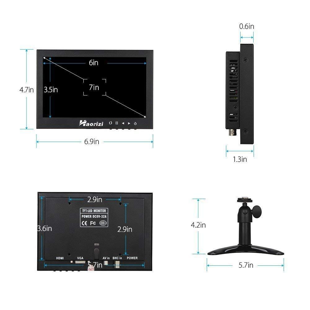 Haorizi 7 Inch HD LED Security CCTV Monitor 1024x600 High Resolution Mini Small Display Screen Metal Housing with HDMI/BNC/VGA/AV Input for PC DVD DVR Builtin Dual Speakers by Haorizi (Image #6)