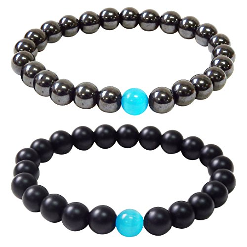 Iron gallstone/Frosted bead Bracelets Fashion Jewelry Bracelets For Men and Women Size...