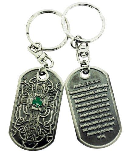 Irish Firefighter Cross Brushed Steel Keychain