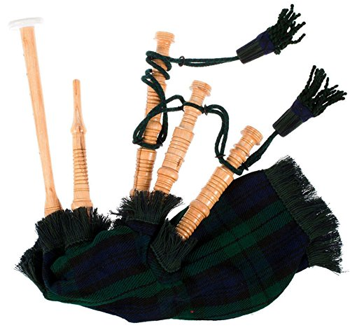 Kids Bagpipe Miniature Playable Bagpipe with Reed In Black Watch Tartan