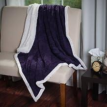 Somerset Home Plush Corduroy Sherpa Throw Blanket (Purple)