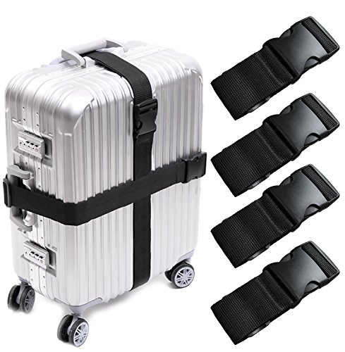 - Darller 4 PCS Luggage Straps Suitcase Belts Travel Accessories Bag Straps, Black, One Size