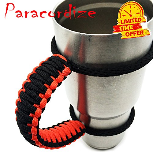Handmade Paracord Handle For Yeti, Ozark, Rtic, BOSS, Kodiak, SIC Trail Rambler and other 30 Oz Tumblers - Ultra-Strong 550 lbs Type 3 Paracord Handle, Black/Orange style