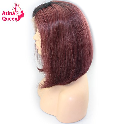 Red Queen Black Bob Wig (Atina Queen Ombre Brazilian Virgin Hair Blunt Cut Bob Wigs for Black Women Pre Plucked Straight Human Hair Short Wine Red Lace Front Wig Natural Hairline 12inch)