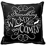 SJbaby Something Wicked Chalkboard Halloween Throw Pillow Cover Fashion Home Decorative Pillowcase Cotton Polyester Throw Pillow Cover 18 x 18 Inches
