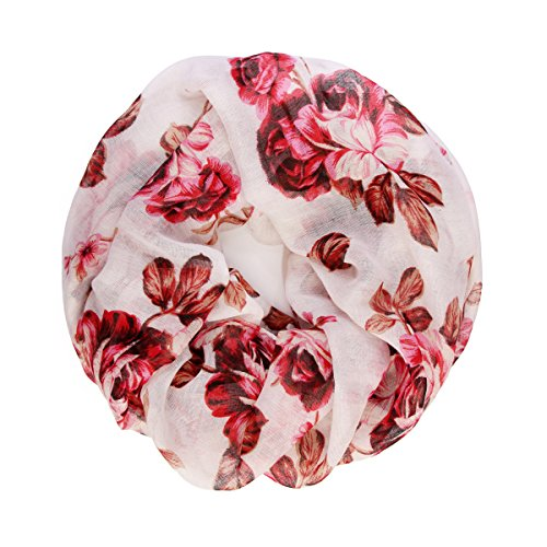 Bohemian Lightweight Floral Print Scarf - Infinity Circle Loop, Oblong Shawl Wrap Cover, Tree of Life, Bird Feather Scarves (Infinity Roses - White Pink)