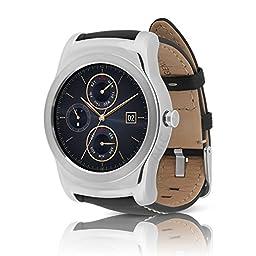 LG Watch Urbane (W150) Smartwatch w/ Leather Wristband (Certified Refurbished) (Silver / Black)