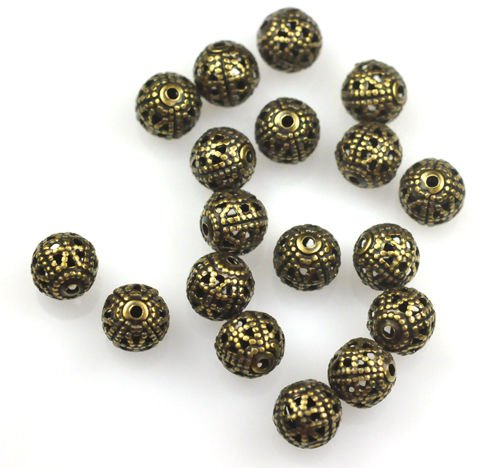 50 Antique Gold Filigree Round Metal Beads for Jewelry Making, Supply for DIY Beading Projects - Bead Antique Metal Gold