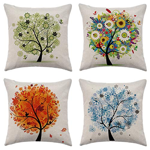 WFLOSUNVE Seasons Tree Decorative Throw Pillow Covers 18