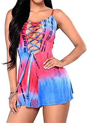 Womens Deep V Neck Cross Lace Up Tie-dye Short Romper Backless Strap Jumpsuit