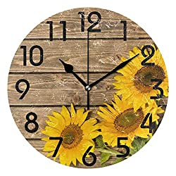 Naanle 3D Beautiful Three Sunflowers on Wood Round Wall Clock, 9.5 Inch Battery Operated Quartz Analog Quiet Desk Clock for Home,Office,School