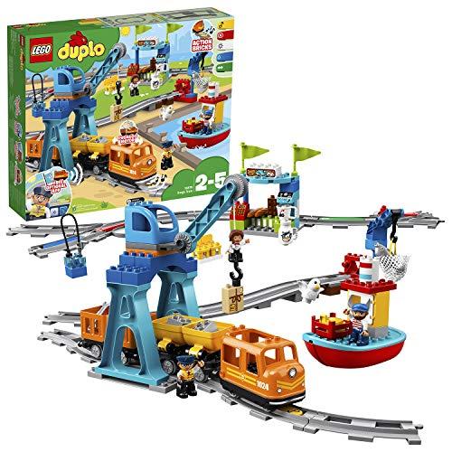 LEGO 10875 DUPLO Town Goederentrein met Geluid en Licht, Push & Go motor en Bewegende Kraan voor Kinderen vanaf 2 Jaar