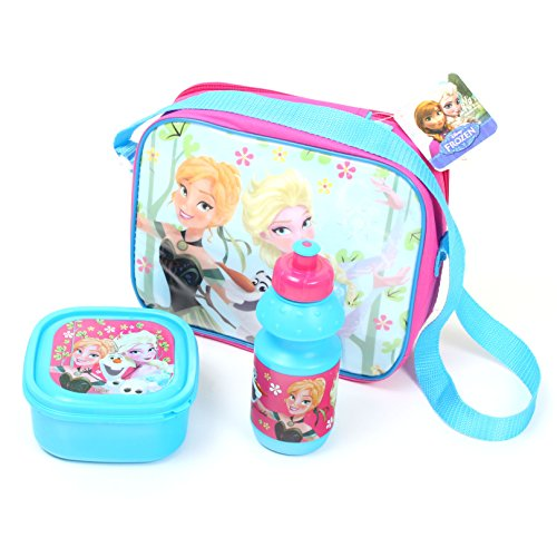 Walt Disney Frozen Die Eiskönigin (101403) Kinder Pausen-Set, Picknick Set, Pausentasche, Pausenbox, Brotbox und Trinkflasche, 2-teilig