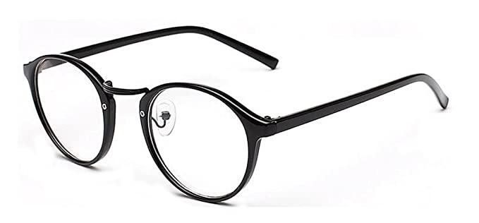 4e3559fe8 Outray Retro Round Frame Clear Lens Glasses E2163c1 Black Bright ...