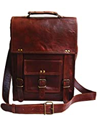 15 Mens Genuine Leather Tall Vertical Laptop Satchel Messenger Bag Briefcase