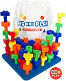 play board - CC O Play 50pc Peg Board Stacking Toy for Toddlers - Montessori Educational Building Shapes for Preschoolers - Early Learning Set for Fine Motor Skills - Ebook Pegboard Pattern Cards/Games-Tote Bag