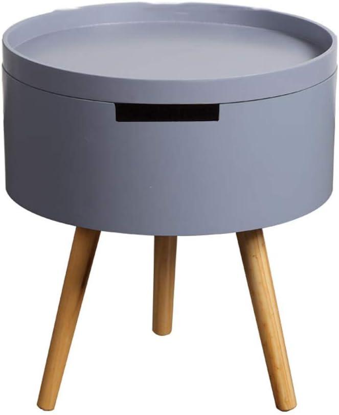 Koop De Nieuwste Mode Caim Ronde salontafel/houten bijzettafel, salontafel met opbergbak, afneembare reistafel, geschikt voor woonkamer, slaapkamer, kantoor grijs PrsWur0