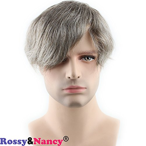 Rossy&Nancy Real Human Hair French Lace with PU Thin Skin Stock Men's Toupee Hair Pieces #6 Mix 40% Grey Hair Color ()