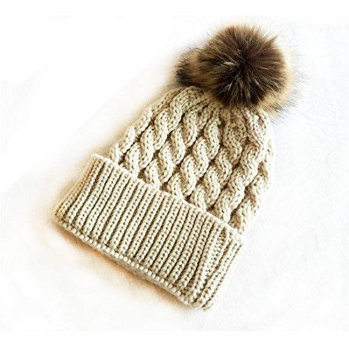 UNKE Crochet Knit Fur Hat with Real Fox Fur Pom Pom Bobble Winter Beanie Hat