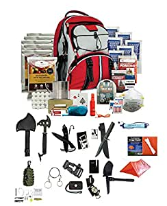 Wise Company 5 Day Emergency Bug Out Backpack (Red) With Food Rations, Drinking Water,First Aid Kit, Stove, Blanket, Poncho & More + LifeStraw Personal Water Filter + Ultimate Arms Gear Survival Set